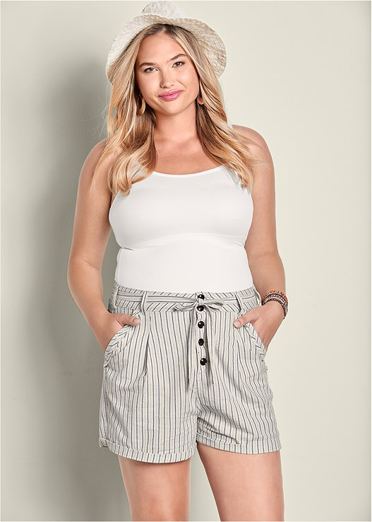 TIE DETAIL STRIPE SHORTS,SEAMLESS CAMI