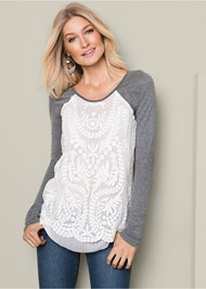 Front View Embroidered Layered Top