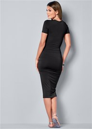 Back view Basic High Neck Dress