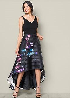 printed high low hem dress