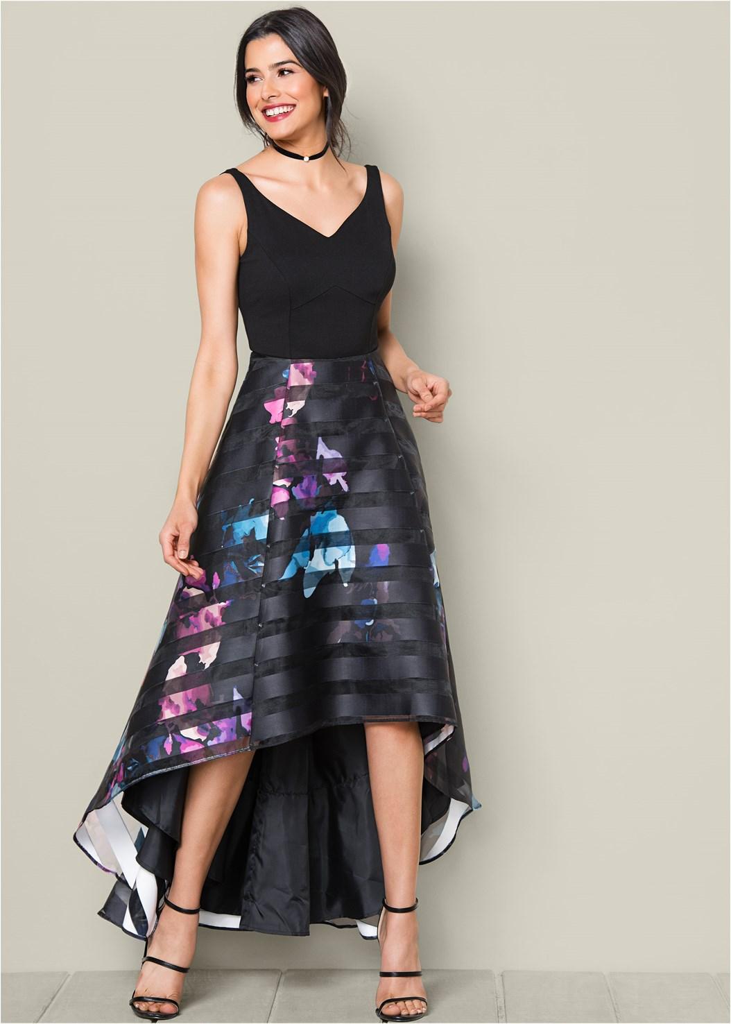 Printed High Low Hem Dress,High Heel Strappy Sandals