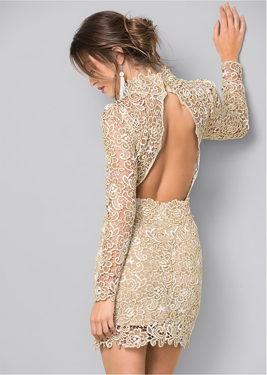8fe99b46a6142 OPEN BACK LACE DRESS in Gold Multi