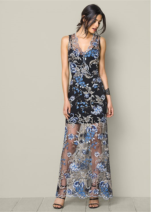 EMBROIDERED LACE LONG DRESS