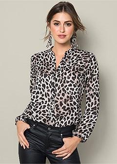 button up leopard blouse