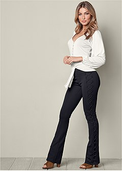lace up boot cut pants