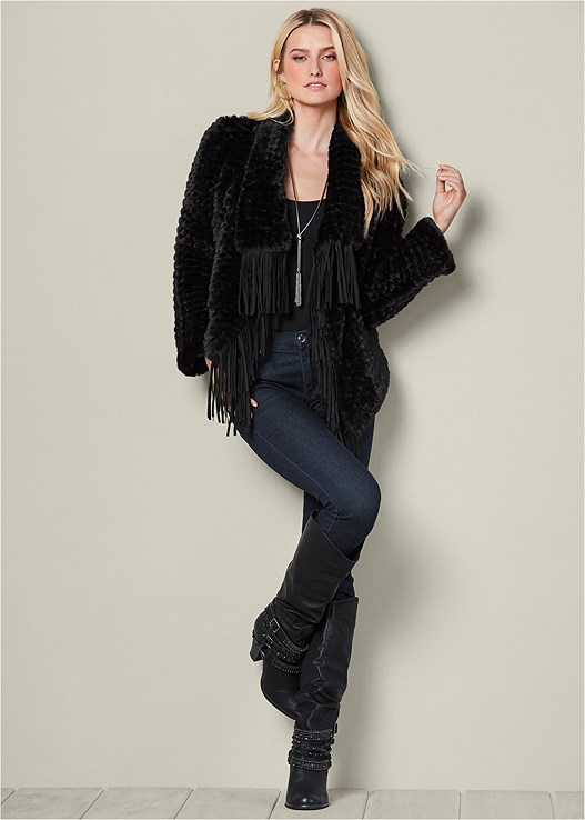 FAUX FUR FRINGE COAT,SEAMLESS CAMI,COLOR SKINNY JEANS,STUDDED BUCKLE BOOT