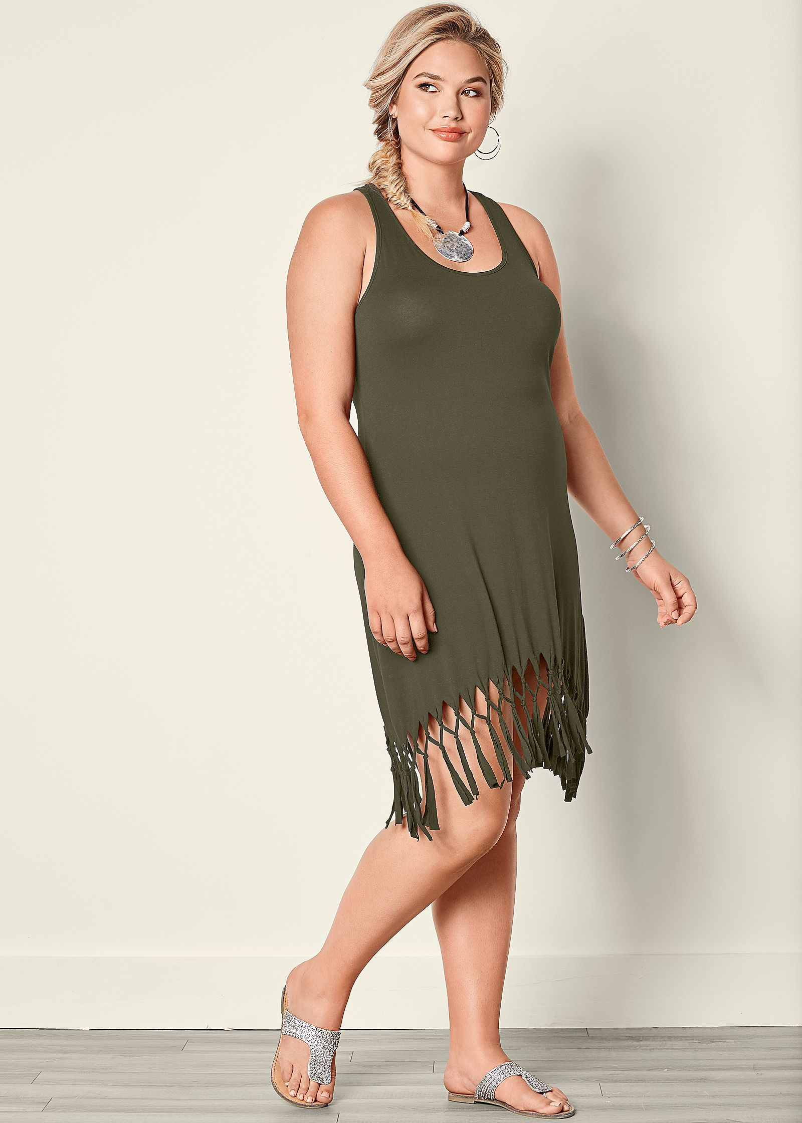Fringe dress plus size for women cheap