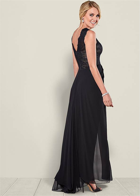 Back view Lace Detail Long Dress
