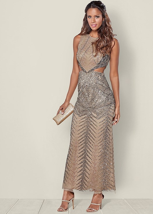 Cut Out Embellished Gown in Blush Multi | VENUS