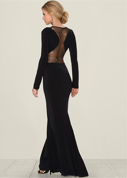 51a46b63297 GOLD DETAILED LONG DRESS in Black Multi