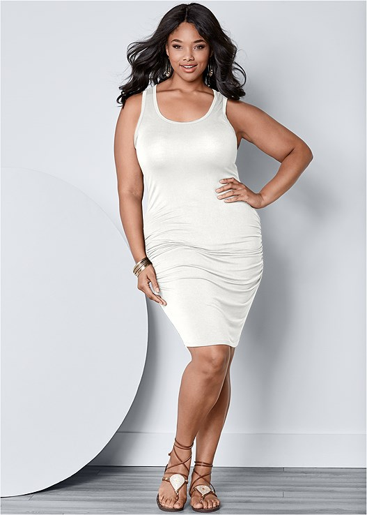 cade11aff0f PLUS SIZE RUCHED TANK DRESS