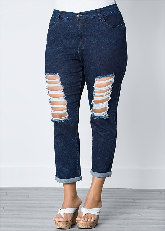 b6b4815bb6 Plus Size RIPPED JEANS in Dark Wash
