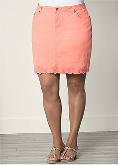 plus size trim detail mini skirt