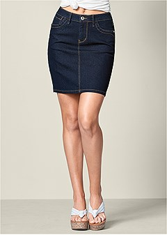 color mini jean skirt