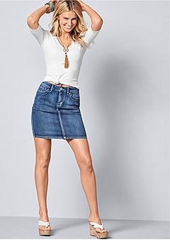 color mini jean skirt