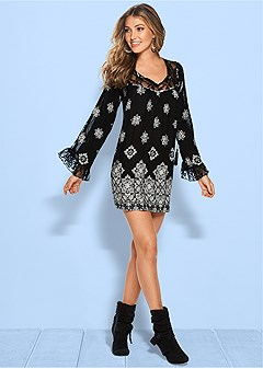 printed lace detail dress