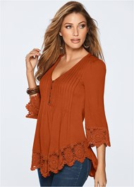 Front view Lace Detail Button Up Top