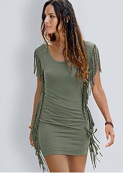 fringe trim dress
