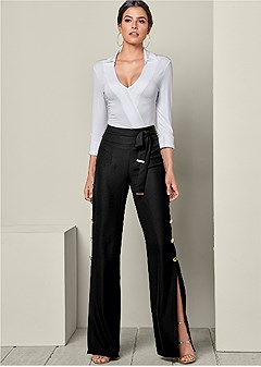 button detail wide pants