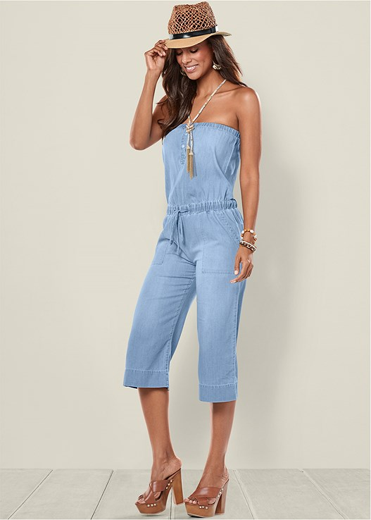 Chambray Jumpsuit In Light Wash Venus