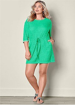 plus size terry tie waist dress