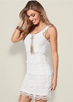 tiered crochet dress