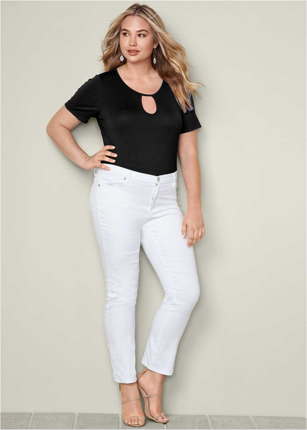 Keyhole Bodysuit,Mid Rise Color Skinny Jeans,High Heel Strappy Sandals