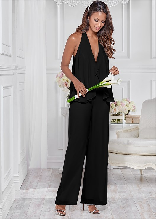CHIFFON JUMPSUIT,3 PK OF PETALS,HIGH HEEL STRAPPY SANDALS
