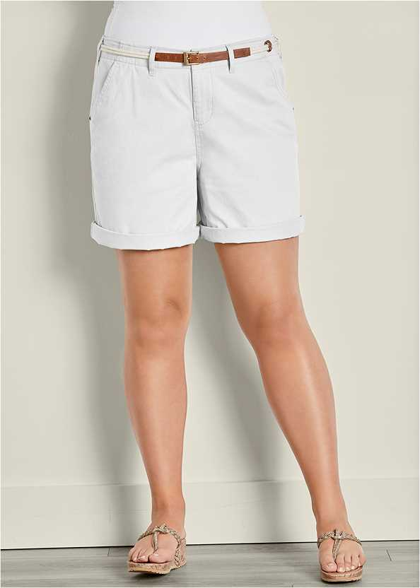 Belted Cuffed Shorts,Basic Cami Two Pack