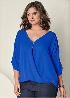 plus size zip up blouse