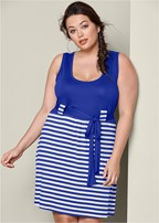 plus size tie waist casual dress