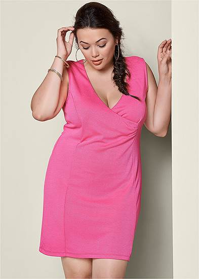 Plus Size V-Neck Surplice Dress