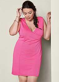 FRONT VIEW V-Neck Surplice Dress