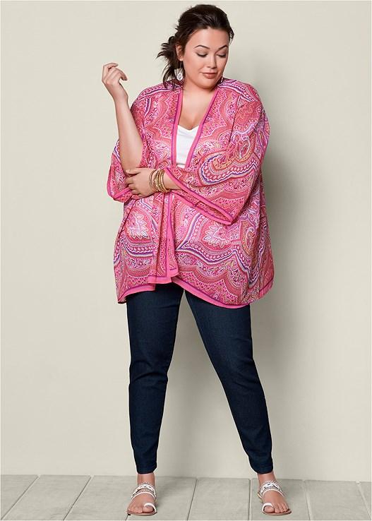 Plus Size Scarf Print Kimono Topper Venus