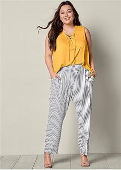 plus size striped pants
