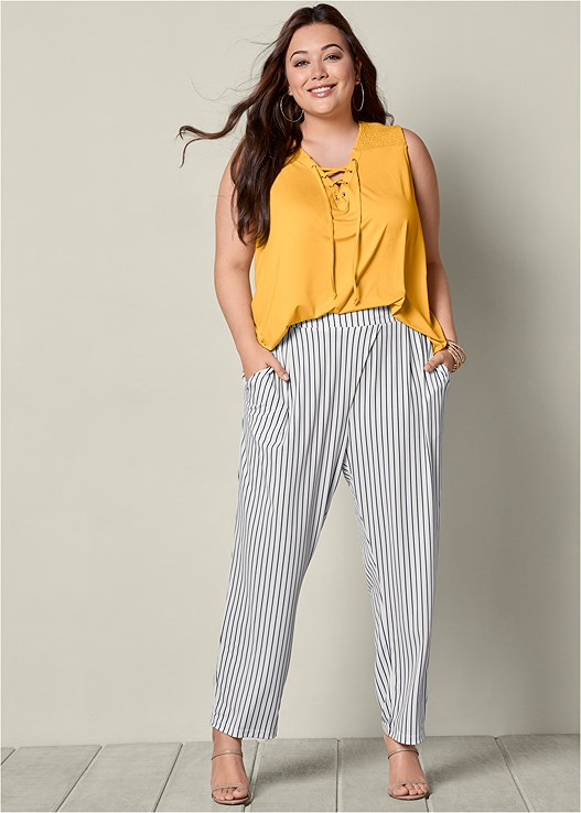 STRIPED PANTS,LACE UP TOP,HIGH HEEL STRAPPY SANDALS
