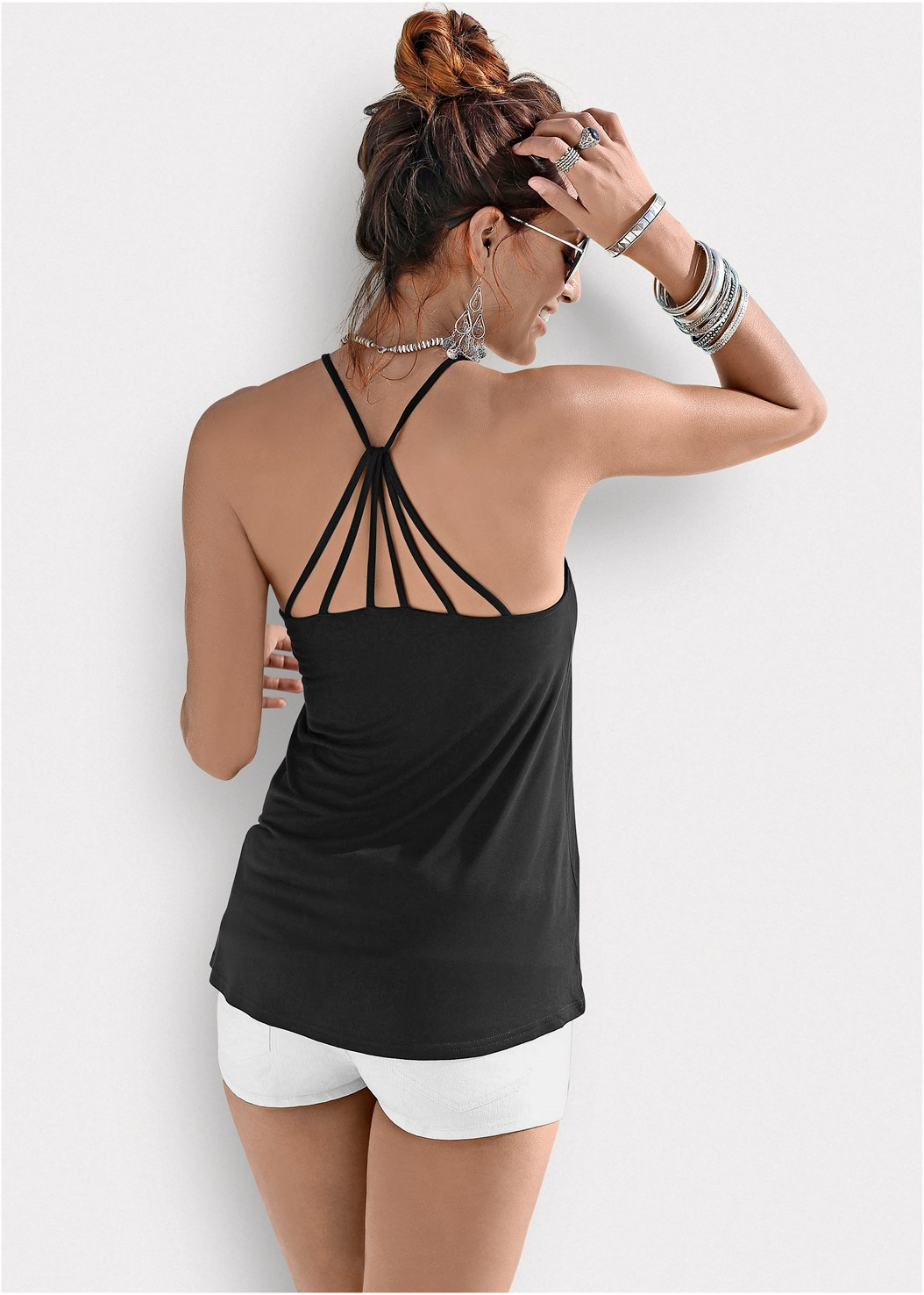 Back Detail Top,Frayed Cut Off Jean Shorts,Venus Cupid Bra