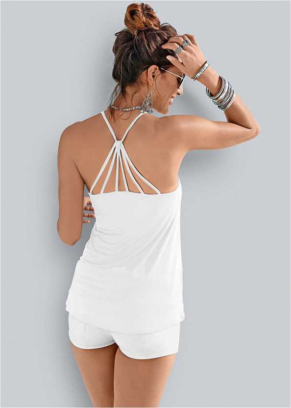 Back Detail Top,Frayed Cut Off Jean Shorts,Tie Dye Strappy Tank,Back Detail Printed Tank