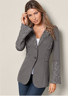 lace bell sleeve blazer