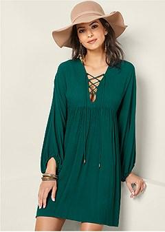 lace up boho dress