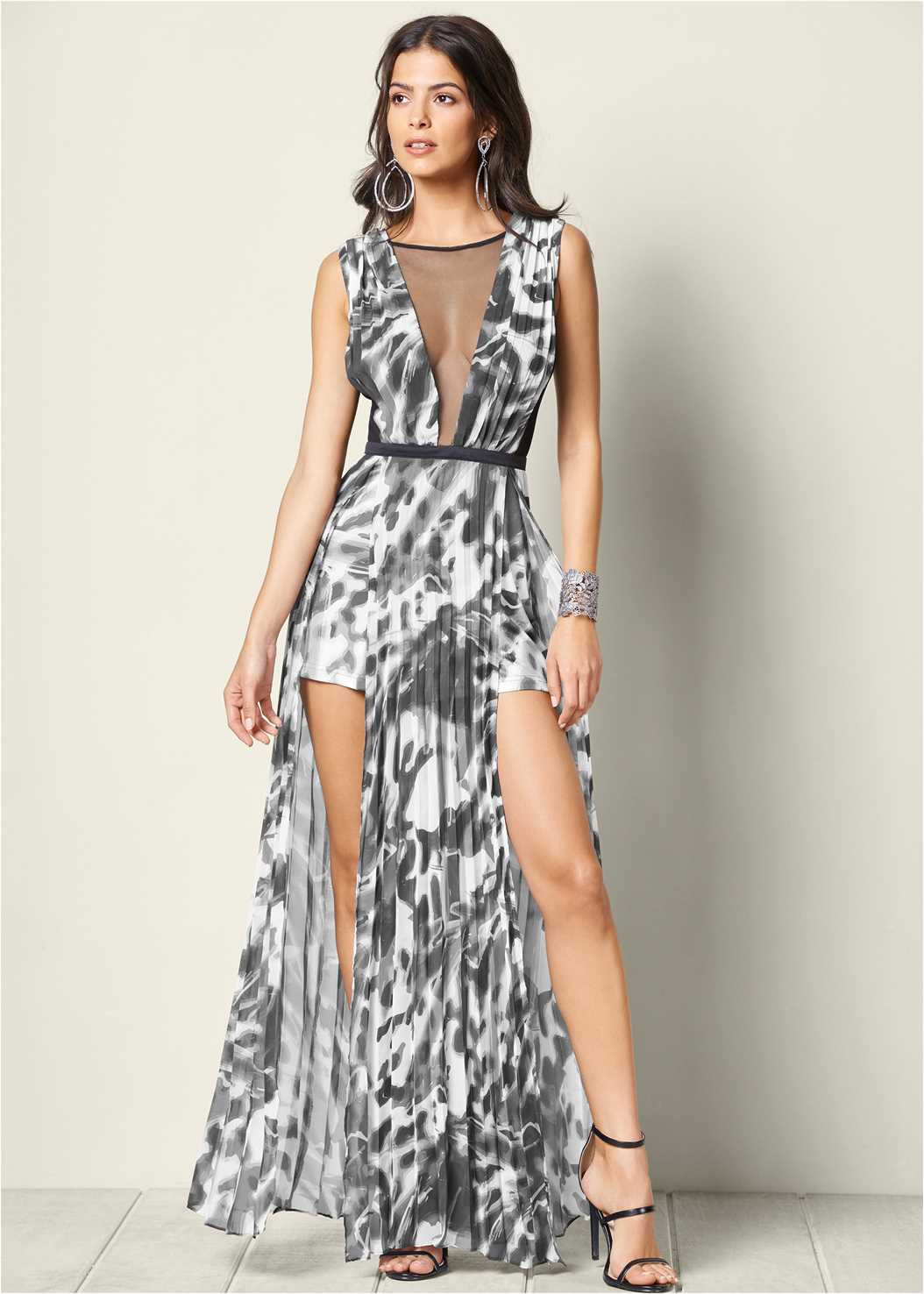 Animal Print Romper,High Heel Strappy Sandals