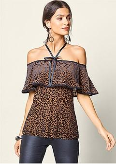 burnout leopard top