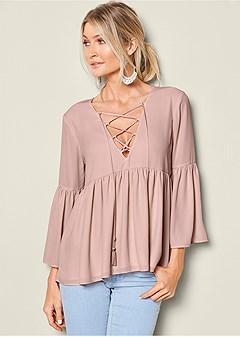 lace up flounce blouse