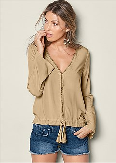 lace detail v-neck blouse