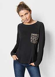 Front view Printed Back Boat Neck Top
