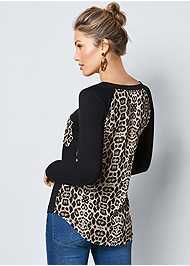 Alternate View Printed Back Boat Neck Top