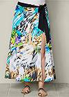 Front view Belted Print Maxi Skirt
