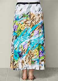 Back view Belted Print Maxi Skirt