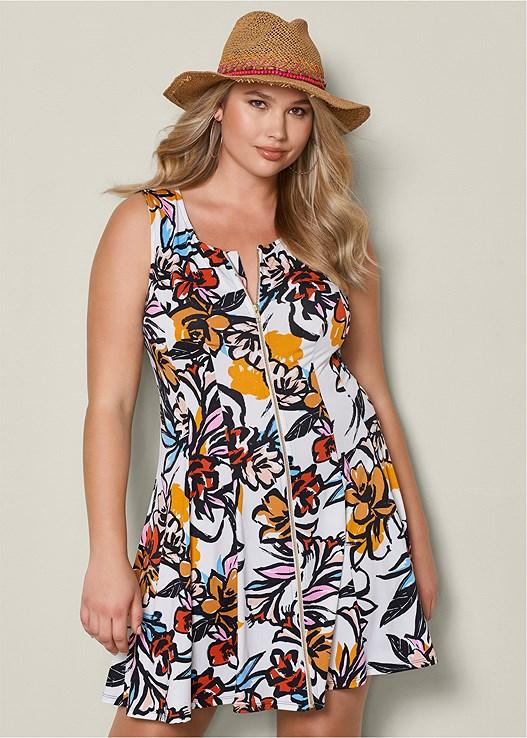 d2f418e36de Plus Size PRINTED ZIP FRONT DRESS