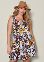 plus size printed zip front dress
